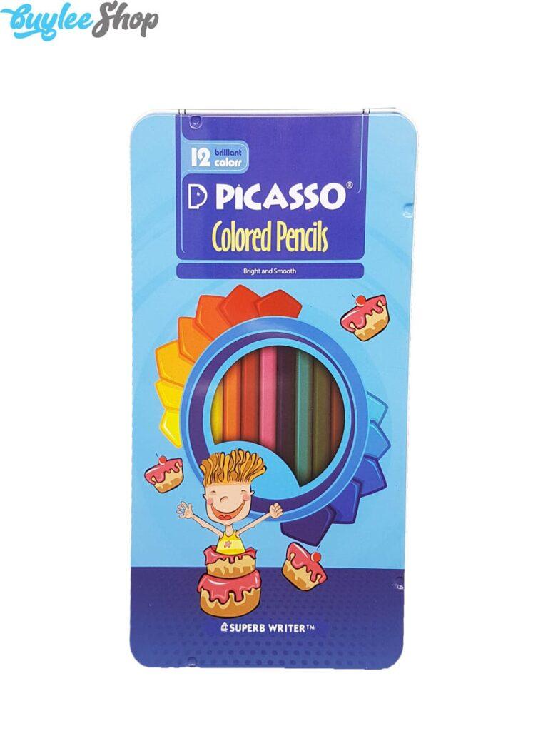 مدادرنگی 12رنگ پیکاسو جعبه فلزی