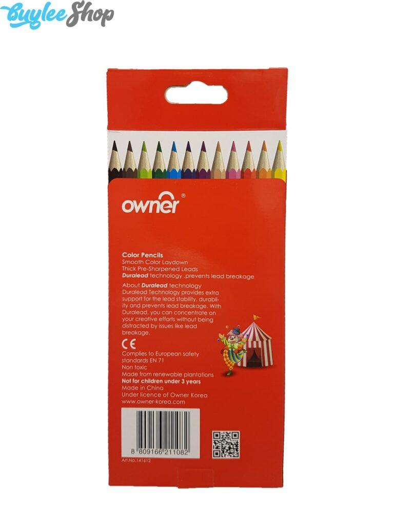 مداد رنگی 12 رنگ اونر جعبه مقوایی