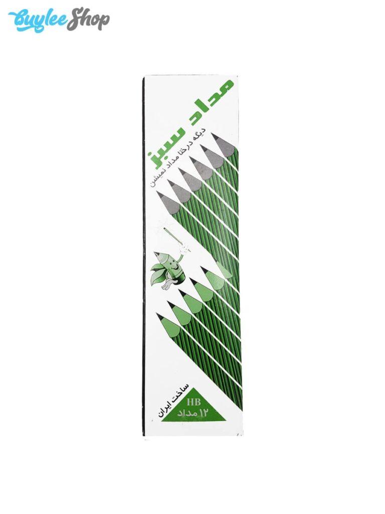 مداد مشکی روزنامه ای سبز بسته 12 عددی